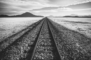 Image of railroad tracks into horizon