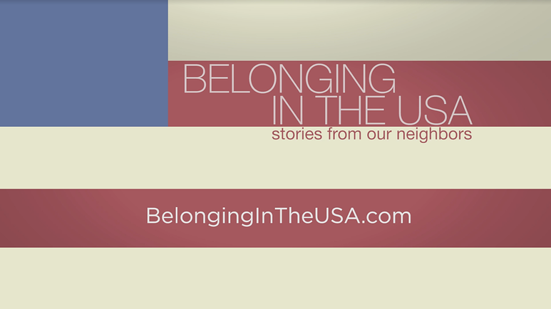 "Artwork for ""Belonging in the USA"" with title on a design referencing the American flag"
