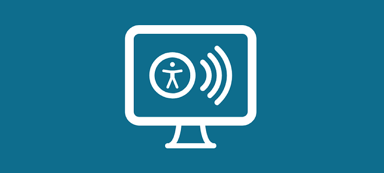 Desktop screen with symbols representing web accessibility and screen readers