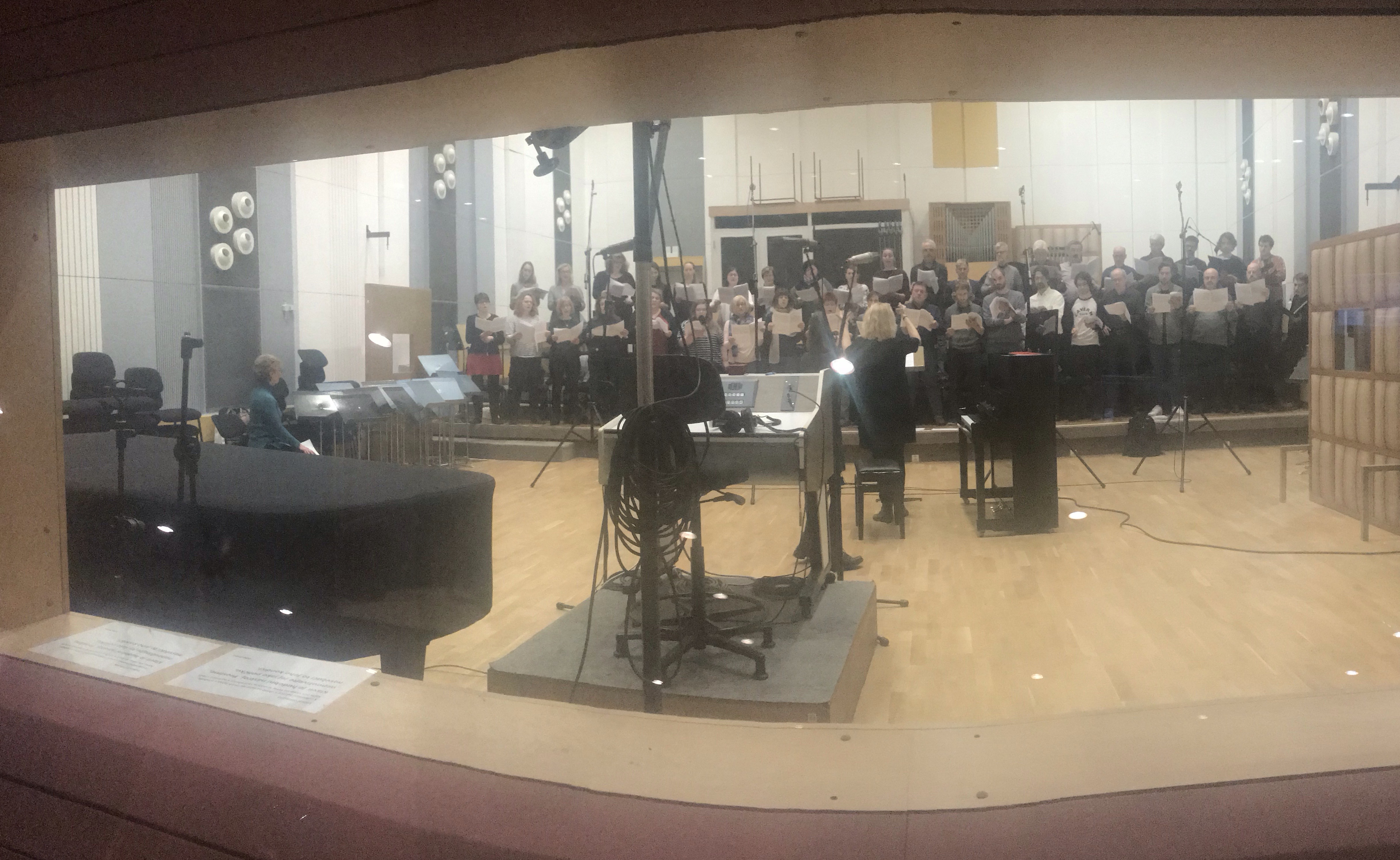 A view of the choir and Theresa from engineer's booth