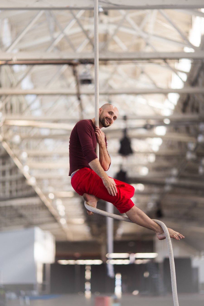 Acrobatic Conundrum dancers hang mid-air