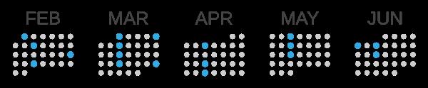 A graphic calendar showing February through June.