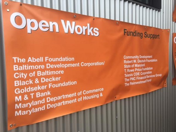 Sign for Open Works.