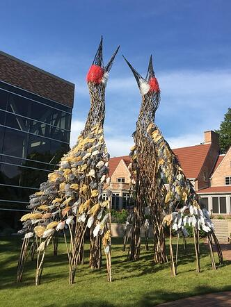 """""""The Dance"""" sculpture of 2 large birds by Donna Dodson and AndyMoerlein"""