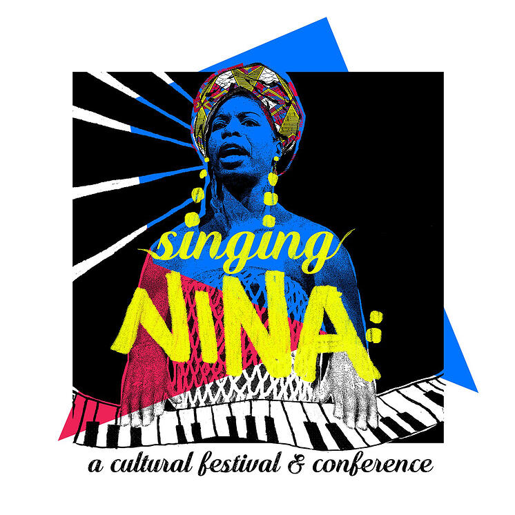 Poster for Singing: Nina with Nina Simone in blue and the title in yellow
