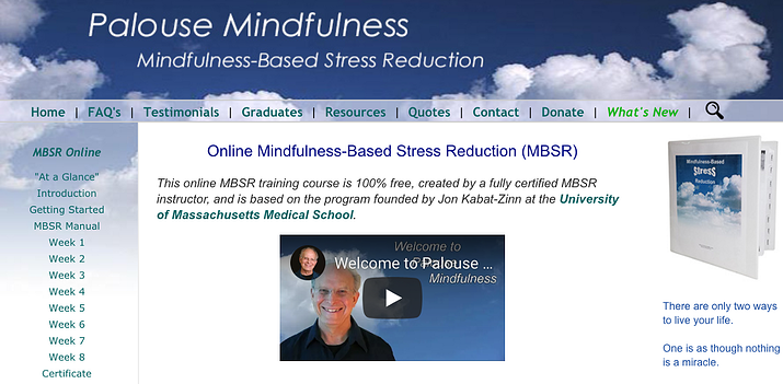 Website landing page image for Palouse Midfulness