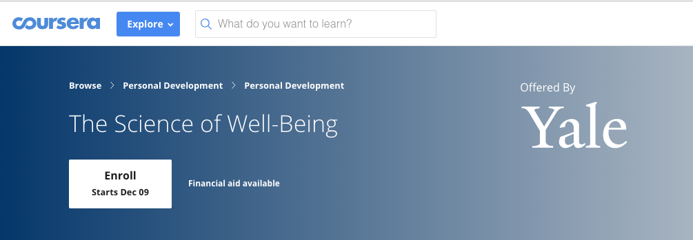 Graphic for Yale's The Science of Well Being