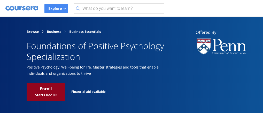 Graphic for Penn State's Foundation of Positive Psychology Specialization