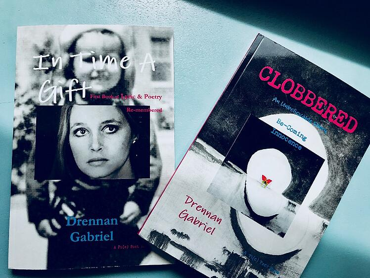 """Susan's books """"In Time a Gift"""" and """"Clobbered"""""""
