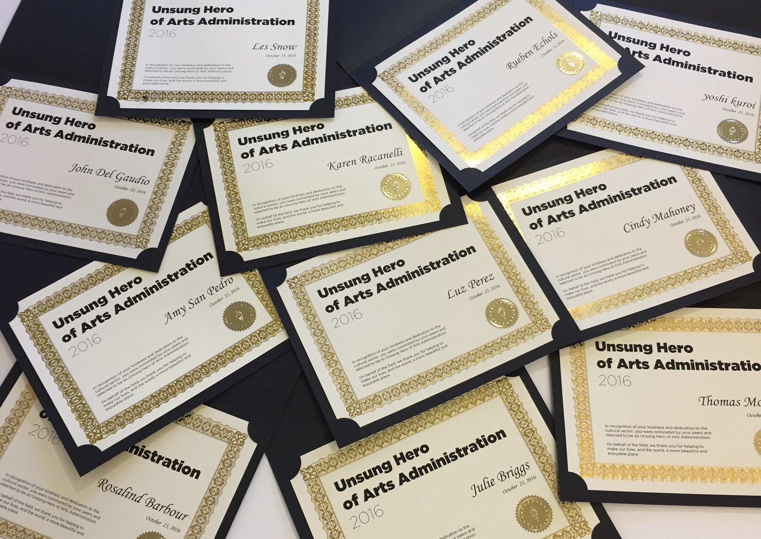 Unsung Heroes of Arts Administration Award Certificates