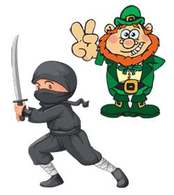 ninja and leprechaun cartoon characters