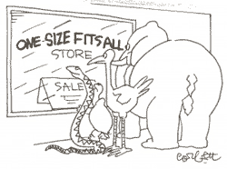 one size fits all sale with snake, elephant, turtle, and bird looking in