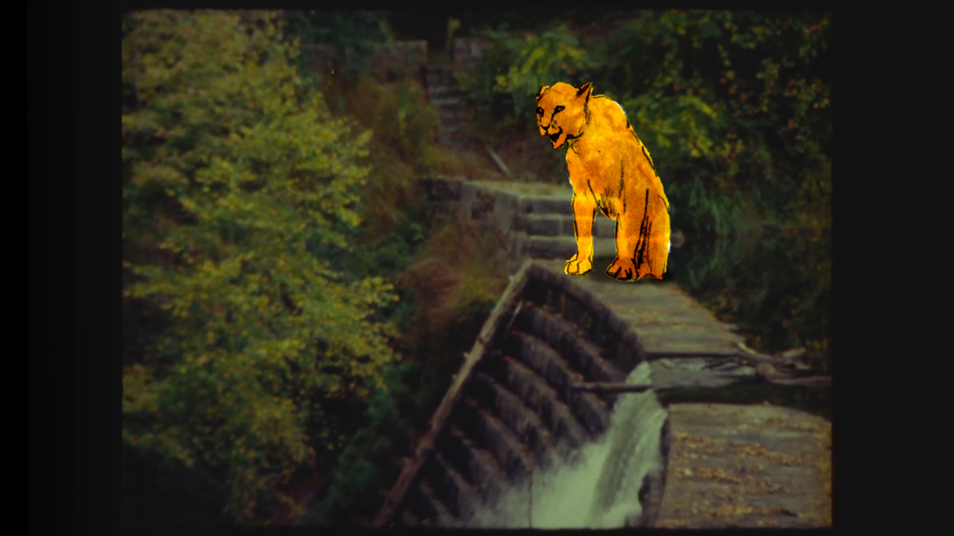A still from Goldilocks film with an illustrated/animated cougar standing over a real-life waterfall